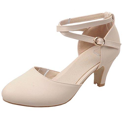 Birdsight Damen Chunky Heels Pumps mit knöchelriemen und Schnalle Schuhe (Beige, 37)