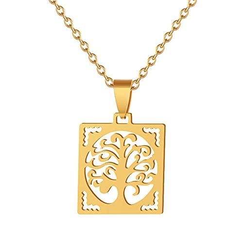 Colgante de moda Collar de árbol de la vida Acero inoxidable Color dorado / acero Mujer Felicidad Decoración Madera Bijoux-Gold_CHINA
