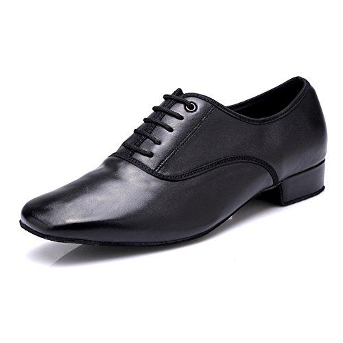DLisiting Latin Dance Shoes Mens Black Leather Ballroom Modern Dancing Shoes (US9.5)