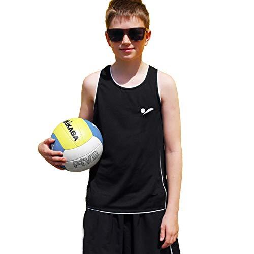 Beach Volleyball Apparel 158/164 Kinder Beachvolleyball Shirt Trikot Sport Tank Top TT100 (Schwarz)
