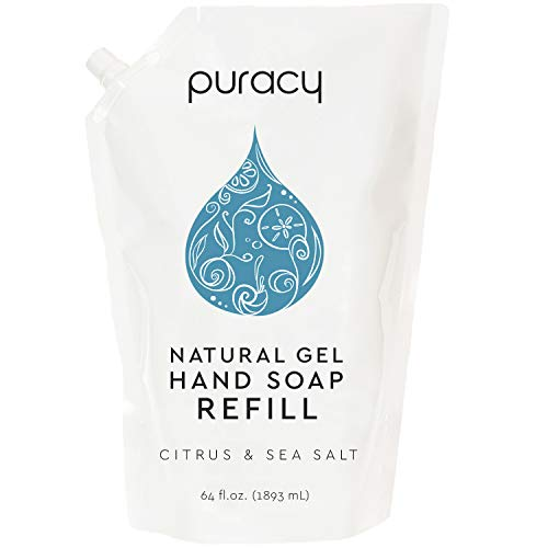 Puracy Natural Gel Hand Soap Refill, Sulfate-Free Liquid Hand Wash, Citrus & Sea Salt, 64 Fl.Oz