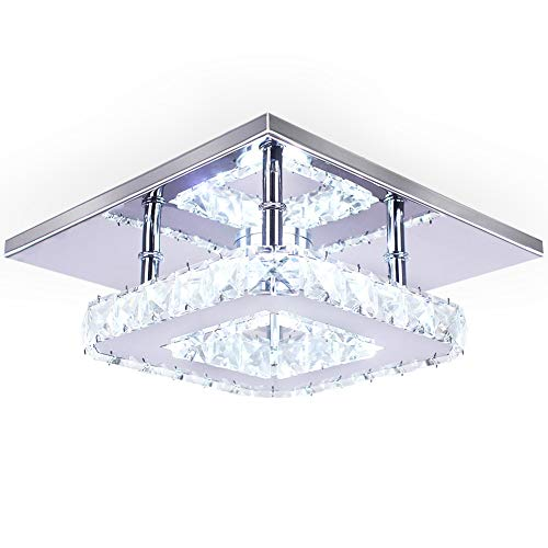 Modern Crystal Chandelier 7.9 Inches Led Ceiling Light Mini Square Flush Mount Ceiling Light for Bedrooms Dinning Rooms Hallway(Cool White,15W)