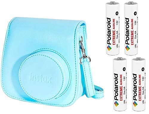 Fujifilm Instax Groovy Camera Case for Instax Mini 8 and 9 - Blue with 4 AA Polaroid Batteries