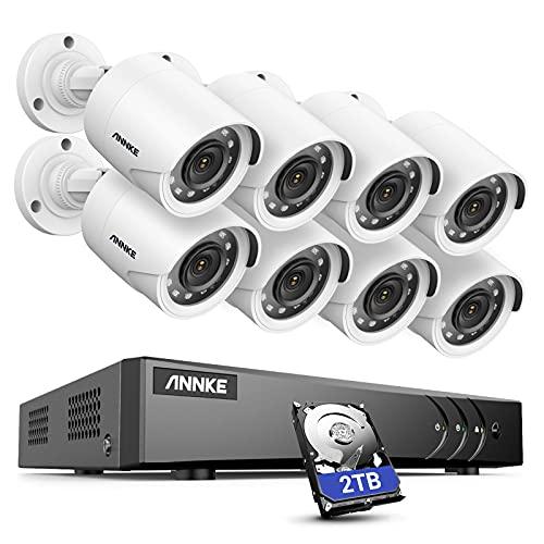 ANNKE Kit de Cámara de Vigilancia exterior 8CH 5MP Lite DVR con 8 Sistema 1080P Cámara de Vigilancia CCTV IP66 Impermeable 30M Visión Nocturna No-Ruido 2TB HDD(Instalado) Sistema de cámara Seguridad
