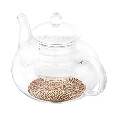 KOLDA 1000ML Glass Teapot with Removable Infuser Clear Teapot & Bamboo Rattan Coasters for Pot Heat Resistance for Afternoon Tea Blooming Tea Maker