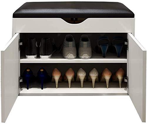 Zapato Gabinete banco con cojín de la PU del armario de 2 estantes estante y 1 Compartimiento de almacenamiento transpirable y Diseño de la puerta doble banco de zapato de madera sólida for el
