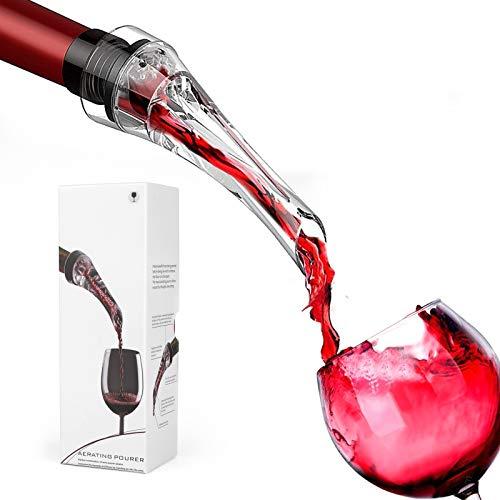 Decanter per Vino Rosso,Aeratore per Vino Aeratore Tappi Bottiglie di qualità,Versatore Salvagoccia Anti-Goccia per Il Tappo Versatore per Vino Bianco e Rosso Idea Regalo Amici Festa Compleanno
