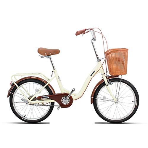 Klappräder Fahrrad Unisex 20 Zoll Single Speed Tragbare Fahrrad Tragbare Stadt Radfahren Fahrrad (Color : Beige, Size : 116 * 22 * 64cm)