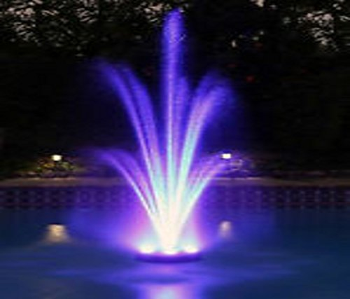 Ocean Mist MAGIC POND FLOATING FOUNTAIN PJ2000-6C Includes 1580 GPH Pump, 360 RBG LEDs in Light Ring, Auto Color Change, Nozzles, 33 Foot Power Cords