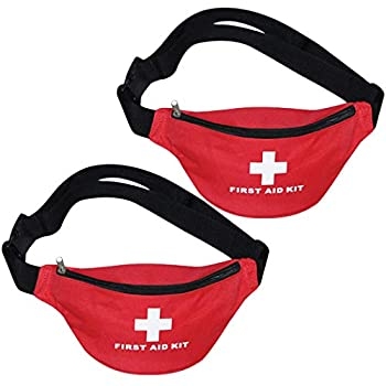 Aoutacc Nylon First Aid Empty Kit,Compact and Lightweight First Aid Bag for Emergency at Home Office Car Outdoors Boat Camping Hiking Bag Only   2 Pack Fanny Pack