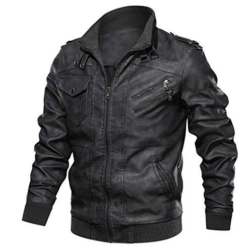 ZEFOTIM Trench Coats for Men, Autumn Winter Vintage Zipper Stand Collar Solid Imitation Leather Coat(G-Black,Small)