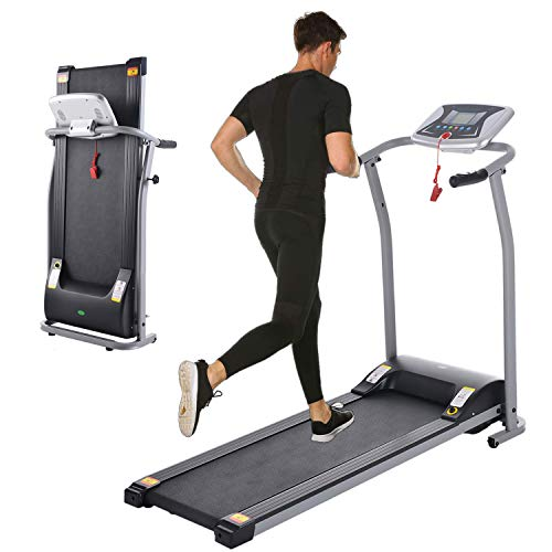 Folding Treadmill, Electric Running Machine with LCD Monitor Motorized Walking Running Machine...