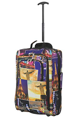 21'/55cm 5 Cities Black Carry On Lightweight Cabin Approved Trolley Bag Hand Luggage (Night Cities)