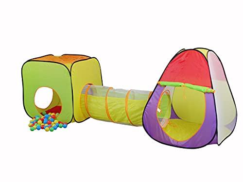 Mobiclinic, Tienda de campaña Infantil, Bolas Incluidas, Fortaleza, Plegable, Piscina de Bolas, Marca Española, Parque de Bolas, Casa de Tela para niños, Doble Carpa y túnel, para Interior o Exterior