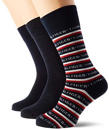 Tommy Hilfiger Th Men Sock 3p Logo Giftbox calcetines, azul marino oscuro, 39/42 (Pack de 3) para Hombre