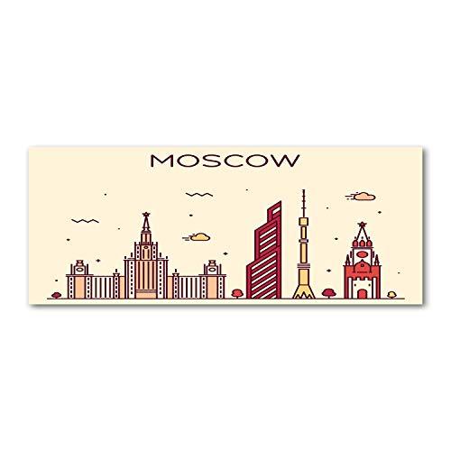 Tulup Glas-Bild Wandbild aus Glas - Wandkunst - Wandbild hinter gehärtetem Sicherheitsglas - Dekorative Wand für Küche und Wohnzimmer 125x50 - Landkarten und Flaggen - Moskauer Gebäude - Mehrfarbig