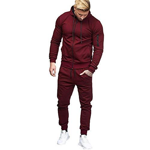 2019 Men's Jogging Tracksuit Sportswear Casual Joggers Set Hoodie Sweatshirt+Pants Sweatpants by-Leegor (Wine, XXX-Large)