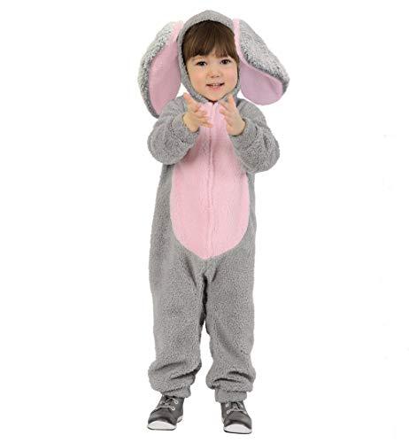 KarnevalsTeufel Kinderkostüm Elefant Overall in grau mit Kapuze und Ohren Dickhäuter (116)
