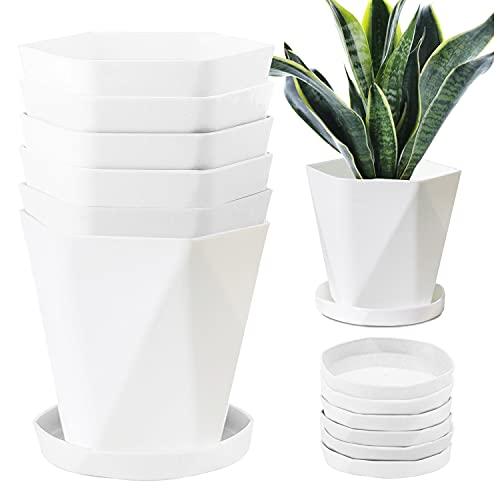 JSPYFITS 13CM 植木鉢 プラスチック製 プランター おしゃれ 北欧風スリット鉢 6個入り 給水鉢トレイ付き ポット 鉢植え 花 蘭 観葉植物 バラ ハーブ適用 インテリア 庭 ベランダ 白