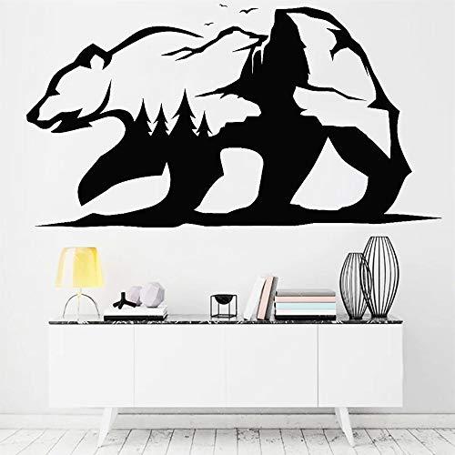 HGFDHG Adhesivo de Pared Abstracto decoración de Vinilo Autoadhesivo Oso Grizzly Animal Animal Naturaleza Aventura Pegatina para el hogar