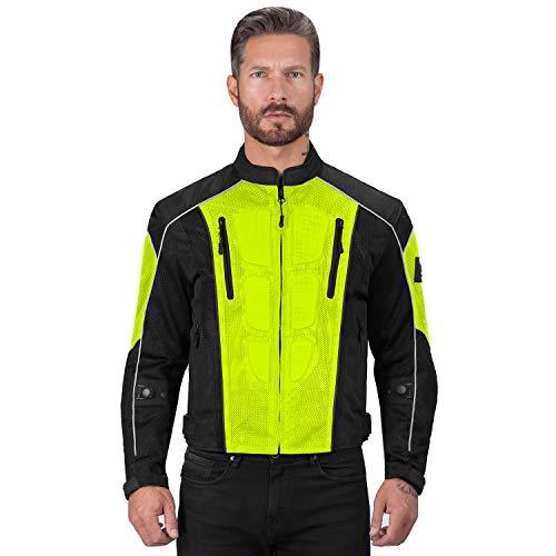 Viking Cycle Textile Warlock Mesh Motorcycle Jacket for Men – Removable Armor, Summer Riding Gear (Hi-Viz, XX-Large)