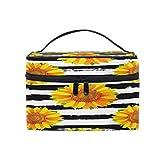 Lihuaval - Bolsa de maquillaje con diseño de girasoles florales para viajes, organizador portátil, neceser de neceser, bolsa de lavado para mujeres y niñas