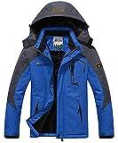 Memoryee Chaqueta Impermeable para Hombres Chaqueta Polar de Invierno Cálida Chaqueta de esquí A Prueba de Viento Bolsillos múltiples/Azul/2XL-Hombre