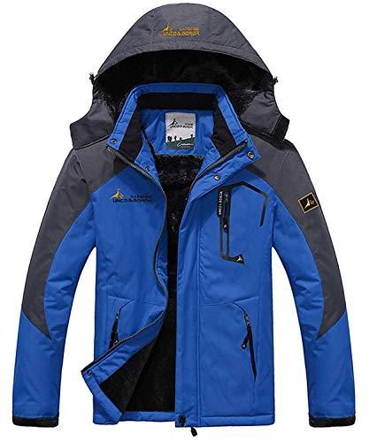 Memoryee Chaqueta impermeable para hombres Chaqueta polar de invierno Cálida chaqueta de esquí A prueba de viento Bolsillos múltiples/Blue/XXL