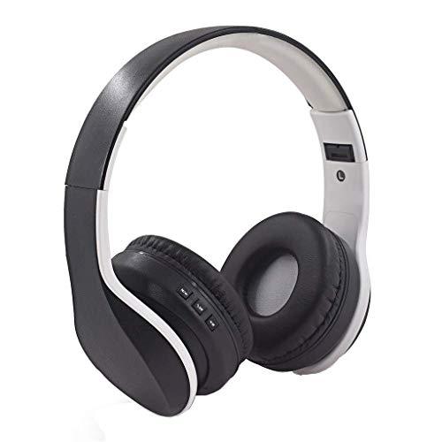 Auriculares de Zhhhk Bluetooth Auricular De La Radio De Bluetooth 5.0 De Alta Fidelidad Bass Auriculares con Cable W/Mic Soft Comfort Almohadillas De Alta Fidelidad Estéreo Plegable Auriculares Sobr