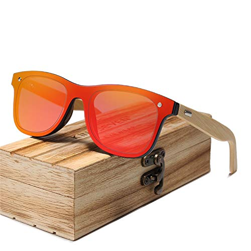 Gafas,Gafas de sol,NEW Bamboo Polarized Sunglasses Men Wooden Sun Glasses Women Brand Original Wood Glasses Oculos De Sol Masculino Red bamboo