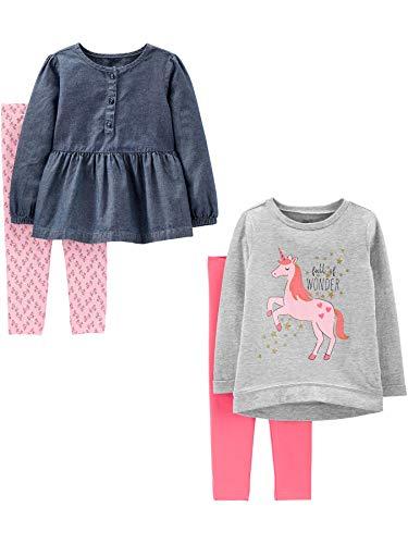 Simple Joys by Carter's - Conjunto - Juego de 4 piezas de camisas y pantalones de manga larga - para bebé niña multicolor Pink Unicorns/Chambray 18 Months