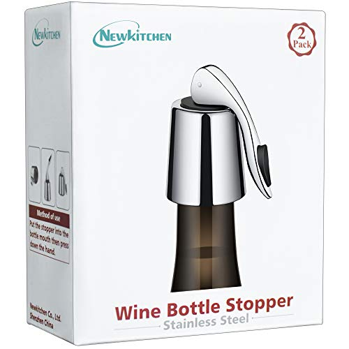 2 PACKS of Wine Bottle Stopper, NEWKITCHEN Stainless Steel Wine Bottle Plug with Silicone, Reusable...