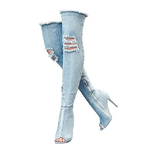 Denim-blaue Oberschenkelhohe Stiefel für Damen, Sommer, Peep-Toe, Stiletto-Absatz, modische Jeans, Overknee-Stiefel, Blau (himmelblau), 35.5 EU