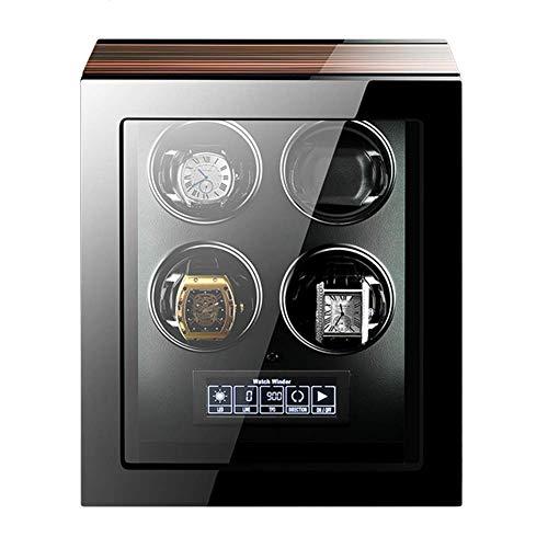 SGSG Enrollador de Reloj para Relojes automáticos Pantalla táctil LCD con Control Remoto Carcasa de Madera Acabado de Piano Motor silencioso