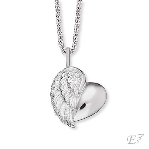 Herzengel Engelsrufer - Halskette Herzflügel Mädchen aus 925 Sterlingsilber, Kinder Schutzengel Silberkette aus echtsilber mit Herzanhänger, Silber Kinderkette mit Herz Engelsflügel Anhänger