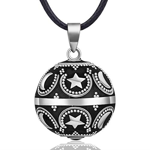 EUDORA Harmony Ball Moon and Star Music Chime Ball Pendant Necklace for Women Baby Girls Nice Jewellry Charming Gift, 45inch