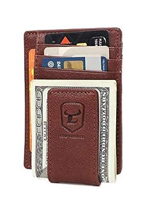 Magnetic Money Clip Wallet for Men Genuine Leather Wallets Slim Front Pocket RFID Blocking Card Holder Minimalist (coffee)