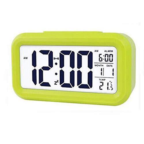 Tenglang Reloj Despertador Digital LED con Pantalla LED de Temperatura para Dormitorio, Viajes, Oficina, mesita de Noche, Despertador, Tiempo de repetición, 3 Pilas AAA, con Pilas (Green)