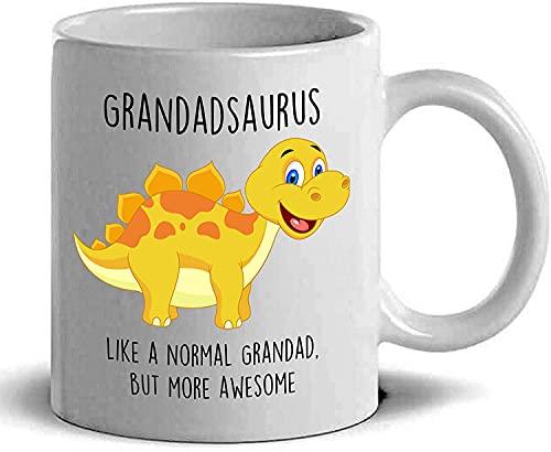 Grandadsaurus - Taza de café con diseño de dinosaurios para el día del padre, taza de café, tazas de café, regalos ideales para abuelo, padre, padre, hermano, maestro, cerámica, 325 ml