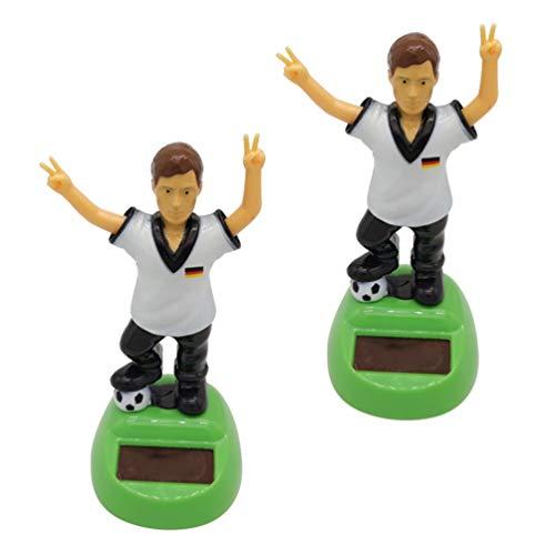 KESYOO 2Pcs Fußball- Spieler Bobblehead Solar Power Fußball Männer Bobblehead Auto Dashboard Kopf Tanzen Schütteln Puppe