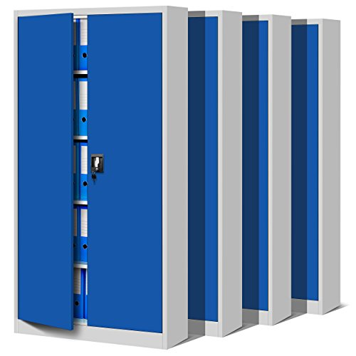 Domator24 Set Oficina C001 Armario de Archivio Metálico 4 Estantes Recubrimiento en Polvo Chapa de Acero 185 cm x 90 cm x 40 cm (Gris/Azul)