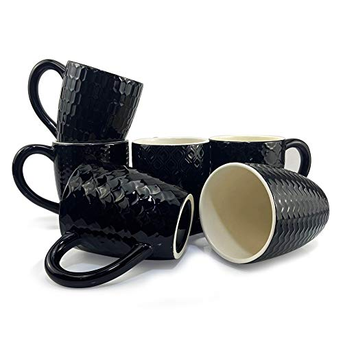 6er-Set Schwarze Tasse aus Keramik mit unterschiedlicher Muster und Griff für Kaffee Tee Kakao Müsli, 350ML