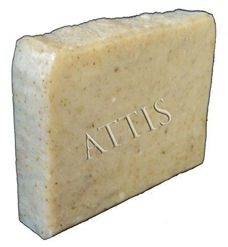 ATTIS Savon naturel fait main à l'huile d'olive Menthe et olive 100 g à l'aloe vera, beurre de karité, huile essentielle de menthe poivrée