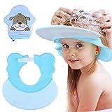 vamei 2 piezas Gorro de ducha para bebé con manoplas de baño para bebé, visera de baño para bebé, sombreros de silicona ajustables con protección contra el agua, lindos guantes de lavado para niños