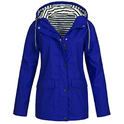Fashion Solid Coat Frauen Regenmantel Verdickter wasserdichter winddichter Mantel Frauen Trench Workout Camping Hoodies Warm Regenbekleidung Anzug Gr. XXX-Large, blau
