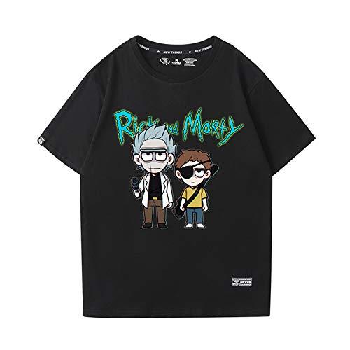 GRTBNH Camisetas de Verano para Hombre Rick y Morty de AlgodóN Ligero Unisex de Manga Corta para Adultos,Black 1,XXL