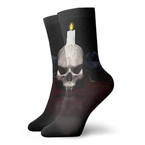 Drempad Luxury Calcetines de Deporte Skull Candle Women & Men Socks Soccer Sock Sport Tube Stockings Length 11.8Inch