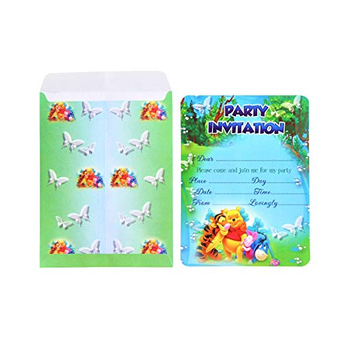 Almoda Creations Winnie-The-Pooh Themed Birthday 20 Invitations Card with Colourful Envelopes for Kids