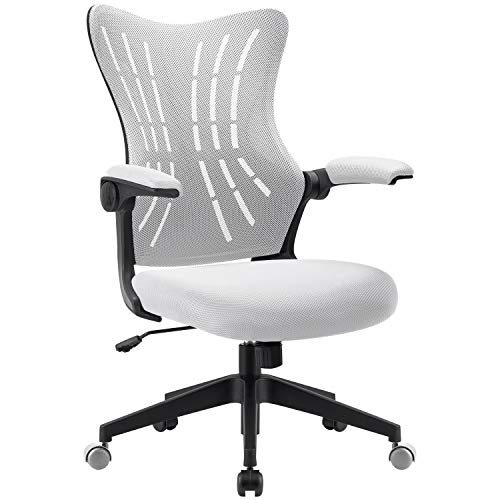 Furmax Office Desk Chair with Flip Arms,Mid Back Mesh Computer Chair Swivel Task Chair with Ergonomic with Lumbar Support (White)