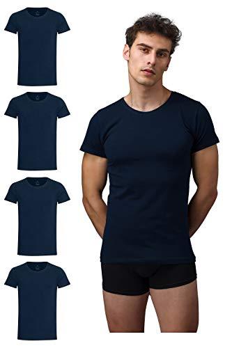 Burnell & Son Business Unterhemd mit Kurzarm und Rundhals für Herren aus atmungsaktiver Baumwolle, Slim Fit 4er Pack, Marineblau, S